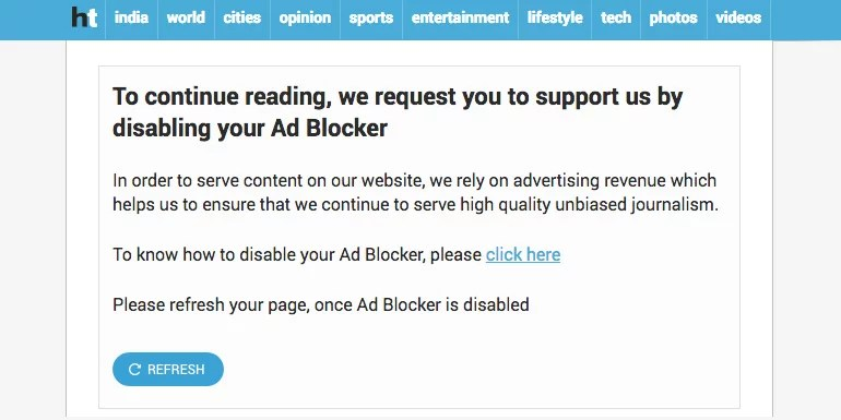India's top news publications blocking users with adblocker