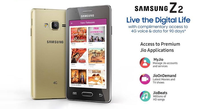 Samsung launches Tizen OS based Z2, comes with Jio 4G preview offer