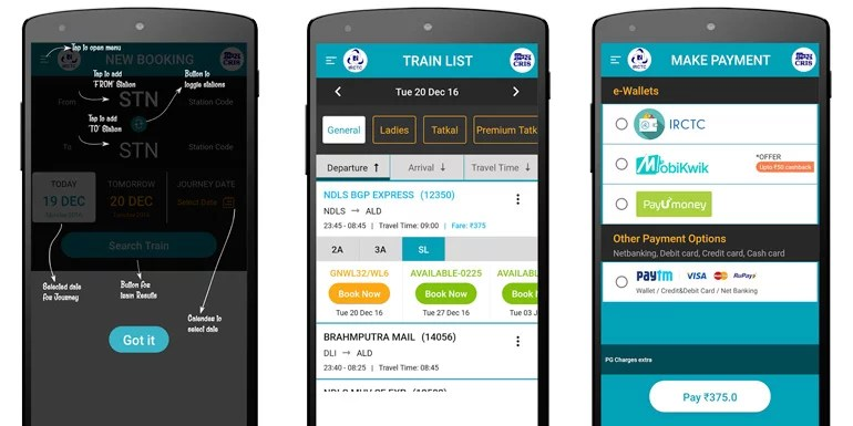 application irctc mobile ticket booking