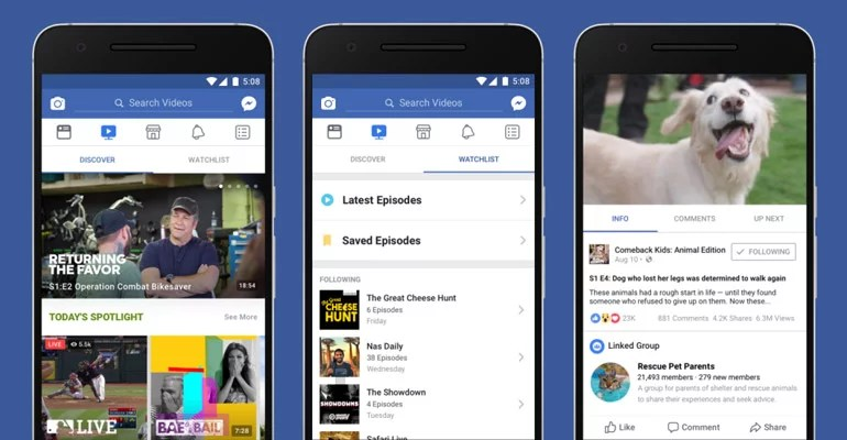 Facebook Introduces Watch - A Video Platform For Shows