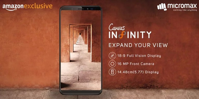 Micromax Canvas Infinity launched with Full vision display, 16MP Selfie Camera