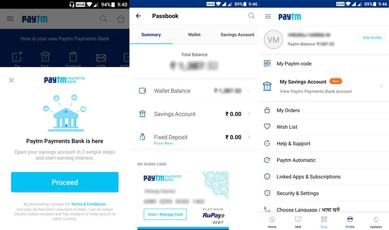 Paytm Payments Bank now live on Mobile App, Open your Savings Account