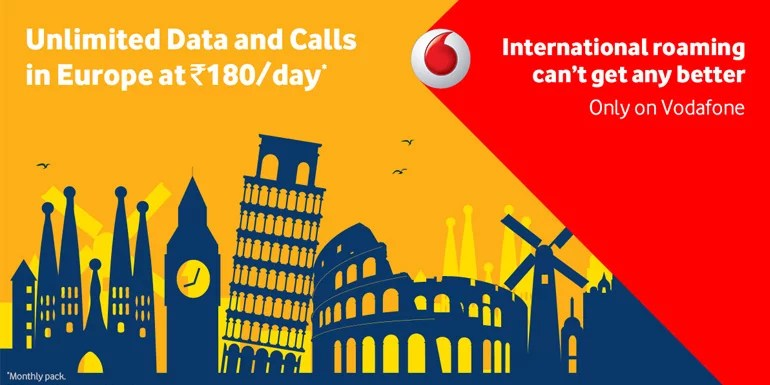 Vodafone India now offers Truly Unlimited International roaming packs across UK and Europe