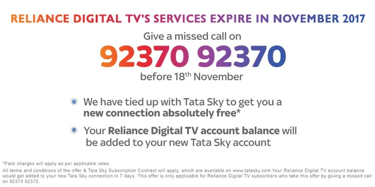 Reliance Digital TV subscribers asked to move to Tata Sky