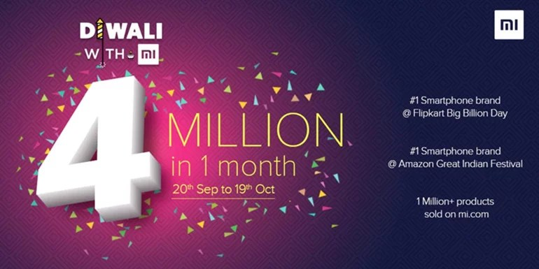 Four Million Smartphones sold by Xiaomi India during this Festive Season