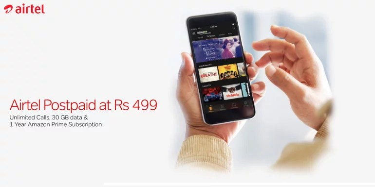 Airtel starts offering free Amazon Prime Subscription with its Postpaid and Broadband Plans