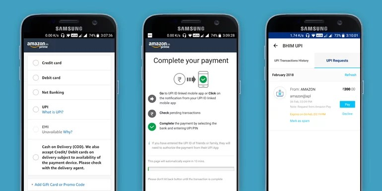 Amazon India Adds UPI Payment Method On Checkout Page
