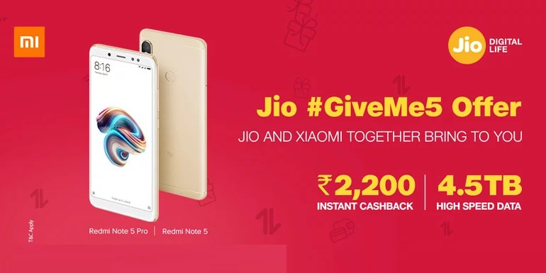 Jio GiveMe5 Offer For Redmi Note 5 Series