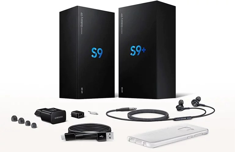 Samsung Galaxy S9 and Galaxy S9+ in the box accessories