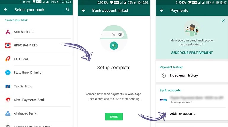 WhatsApp Payments UPI VPA setup and linking bank accounts
