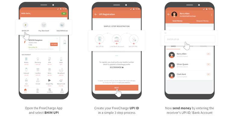 FreeCharge BHIM UPI on Android application