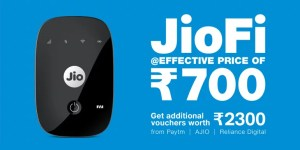 Reliance JioFi 4G hotspot device new offers and cashback