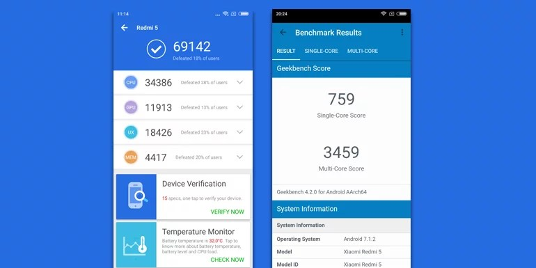 Xiaomi Redmi 5 Antutu and Geekbench score- review