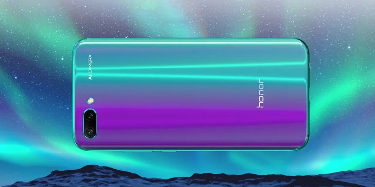 Honor 10 glass black and reflective surface