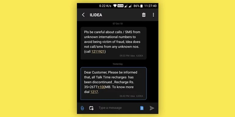 Idea Cellular discontinuing Talk time only recharges