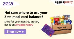 Zeta Meal Card accepted in Amazon India Pantry