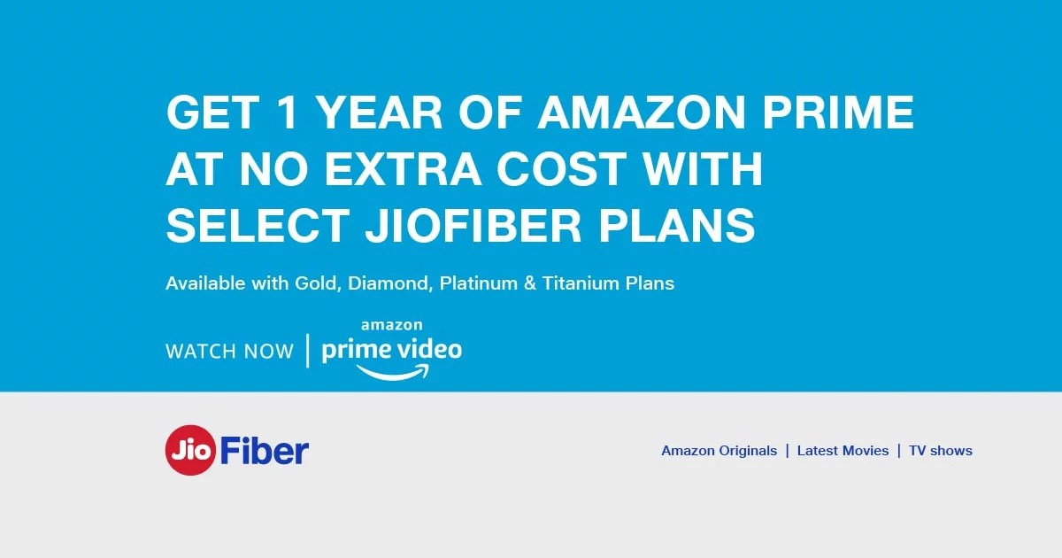 Free Amazon Prime with JioFiber selected plans