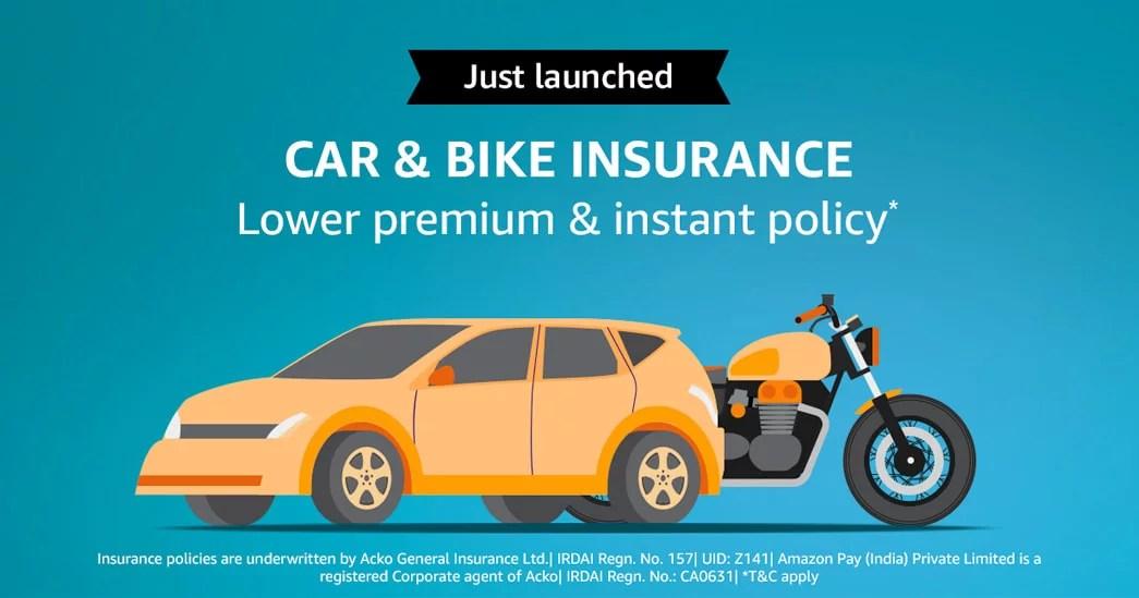 Car and Bike Insurance via Amazon Pay
