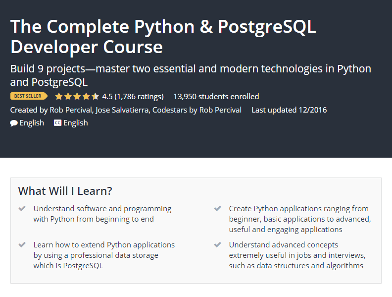 The Complete Python PostgreSQL Developer Course Udemy