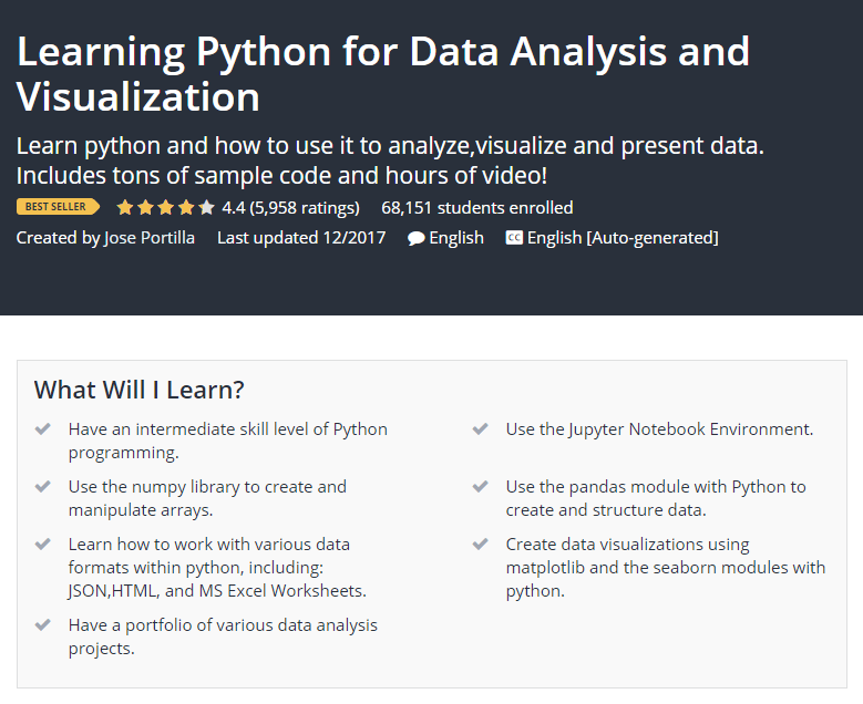Learning Python for Data Analysis and Visualization Udemy