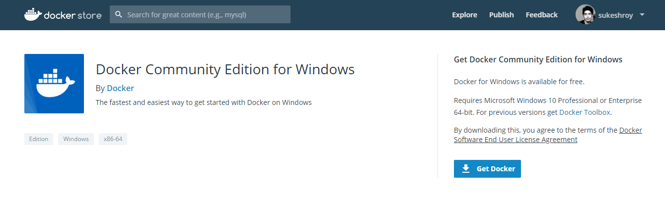 Download Docker File for Windows