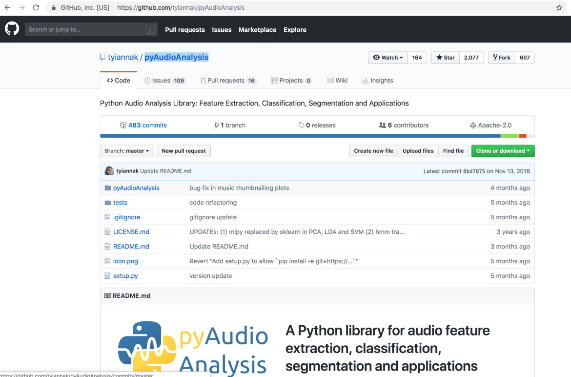 Audio Processing Library - pyAudioAnalysis