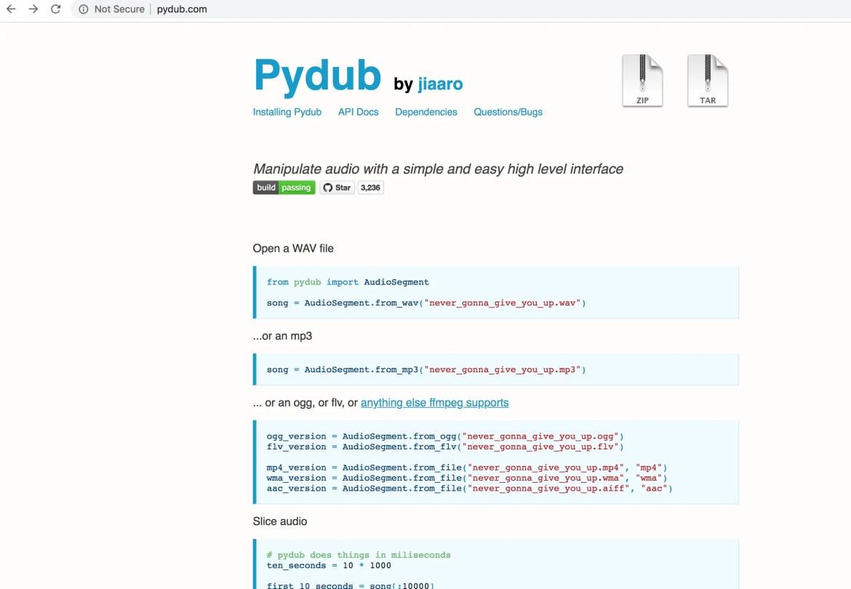 Audio Processing python- Pydub
