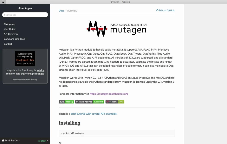 Python Audio Processing Library - Mutagen