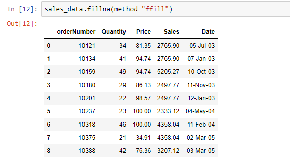 filling the missing value with the last non-null value