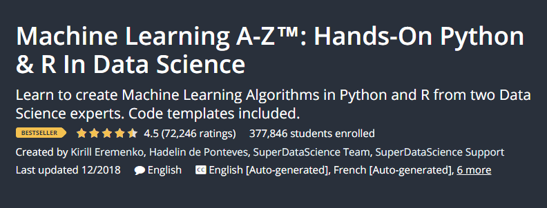 machine learning a-z hands on Python