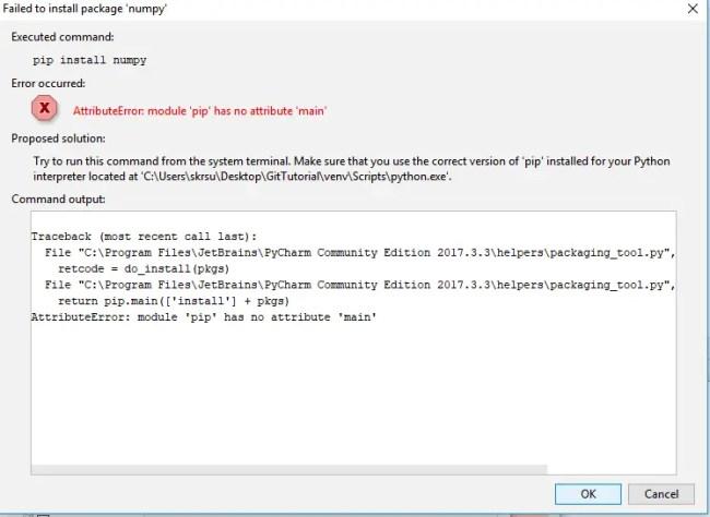 numpy install error