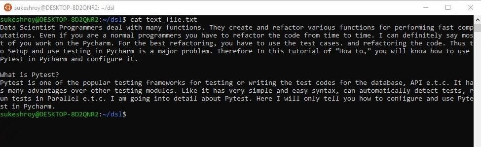 cat display text file
