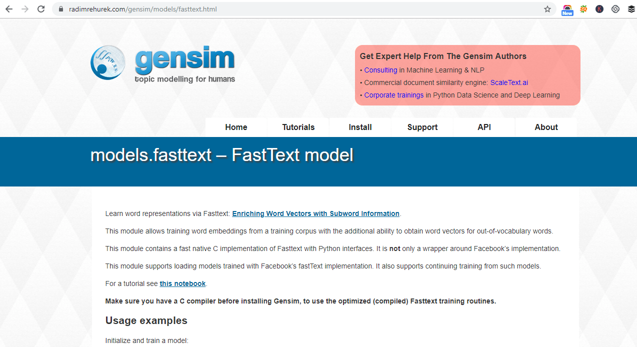 create word embedding using FastText