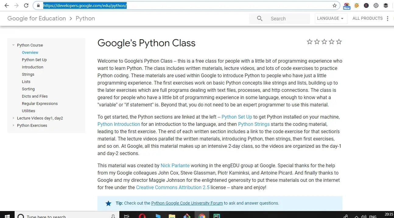 website-for-Python-learning-2-google