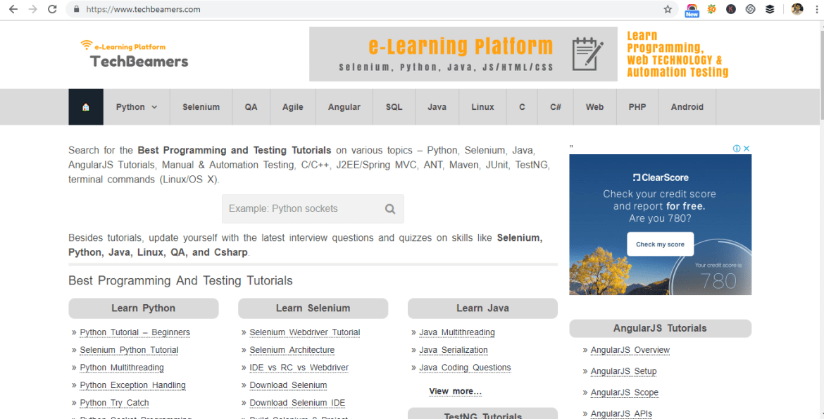 website-for-Python-learning-2-techbeamers.