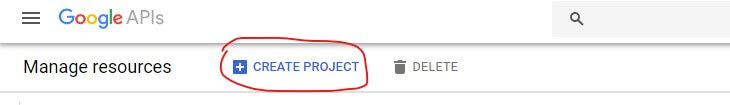 create a new project google developer console