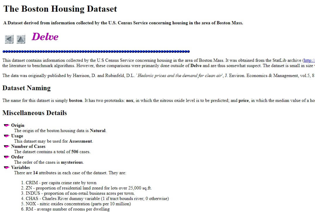 Boston Housing Dataset Offical Website