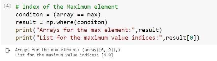 Index for the Maximum Value in 1D Array