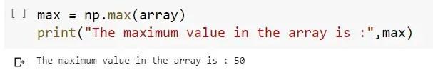 Max Value in a 1D Numpy Array