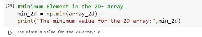 Min Value in a 2D Numpy Array