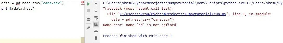 Not properly imported pandas module error