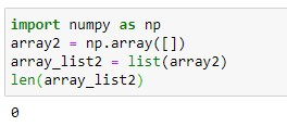 Checking 1D Empty Array using len() function