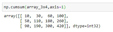 Cumulative Sum of Two Dimension Array with axis = 1