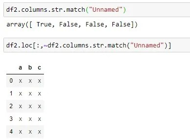 Dropping the Unnamed Column by Filtering the Unamed Column