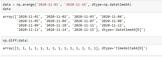 Numpy Difference for Time-Series Data