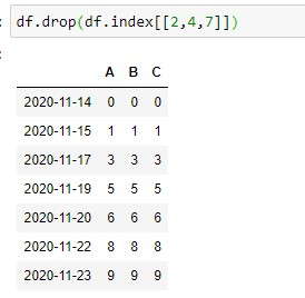 Output of dataframe after removing the 3,5,and 8 Rows