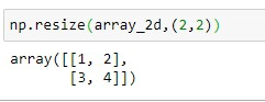 Resizing 2D Numpy array to 2x2 dimension