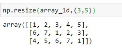 Resizing Numpy array to 3x5 dimension