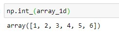 Using the numpy.int_() method for 1D Array