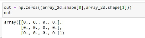 Zero array of 2D Numpy Array of Size 3x4